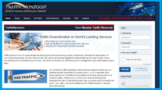 Quer ganhar dinheiro e ainda aumentar os acessos no seu blog ou site?  Trafficmonsoon-login